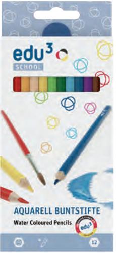 12 Aquarel kleurpotloden EDU3